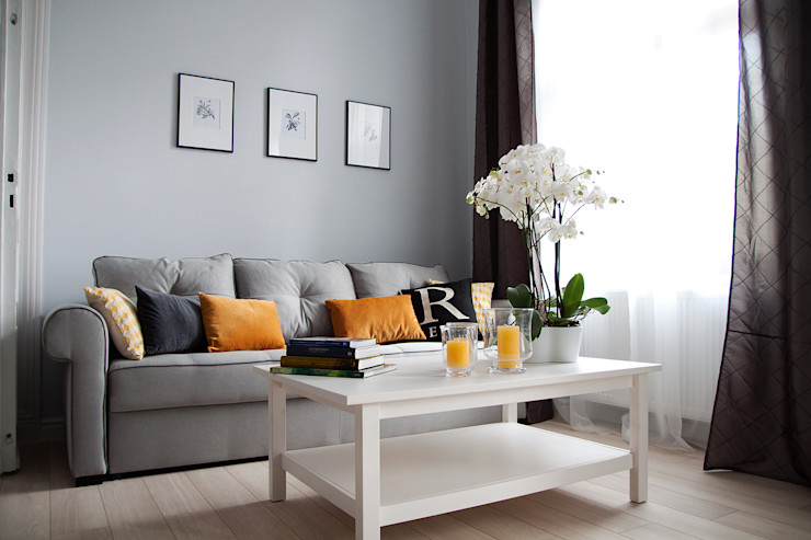 Grey shade interiors Eclectic style living room