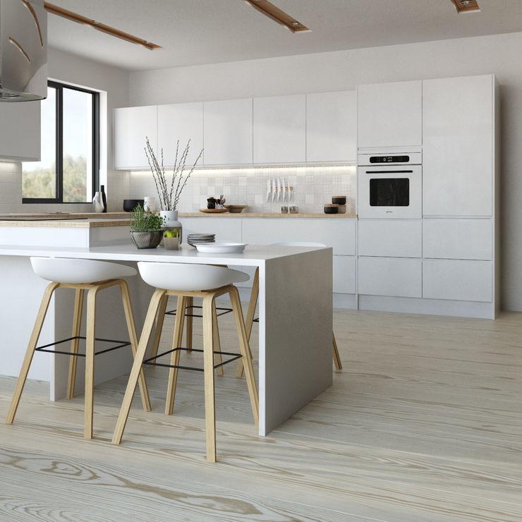 Manhattan gloss kitchen in white Kitchen Stori KitchenCabinets & shelves