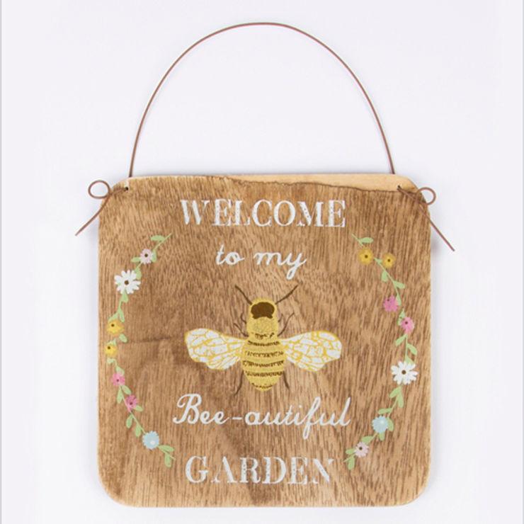 Welcome to my Bee - autiful Garden sign - rustic hanging bees plaque Tittlemouse JardínAccesorios y decoración