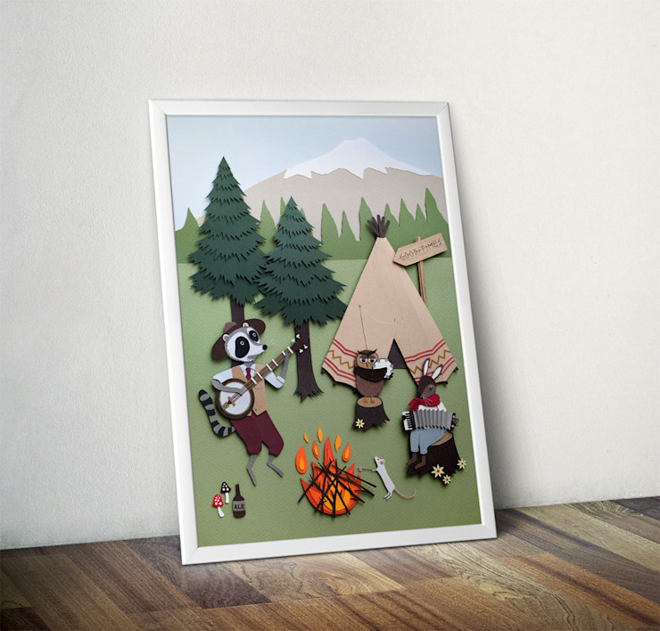Woodland Camping by Rachael Edwards Wraptious ArtworkPictures & paintings