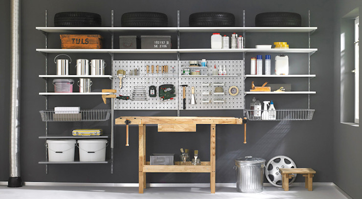 Regalraum GmbH Industrial style garage/shed Metal White