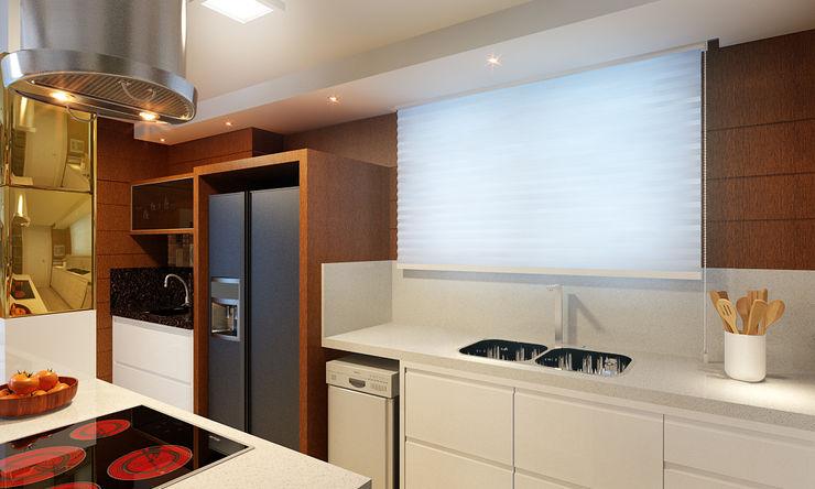 Cozinha Gourmet, Sala de Jantar e Estar Eliegi Ambrosi Arquitetura e Design de Interiores Cozinhas modernas