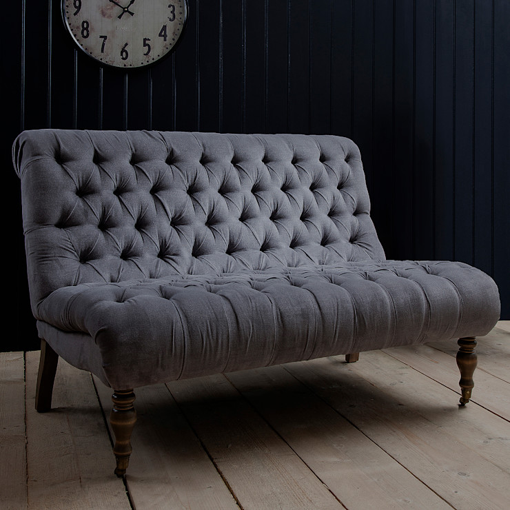 Grey Button Back Two-Seater Chair Primrose & Plum LivingsSofás y sillones