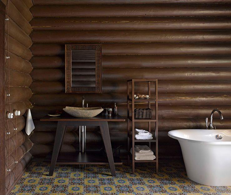 ЗАГОРОДНЫЙ ДОМ-ДАЧА, УЛЬЯНОВСКАЯ ОБЛАСТЬ 2014 ГОД Lavka-design дизайн бюро Ванная комната в рустикальном стиле