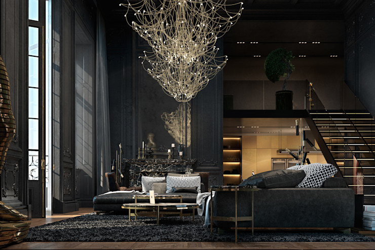 Paris apartment Diff.Studio Ruang Keluarga Gaya Eklektik