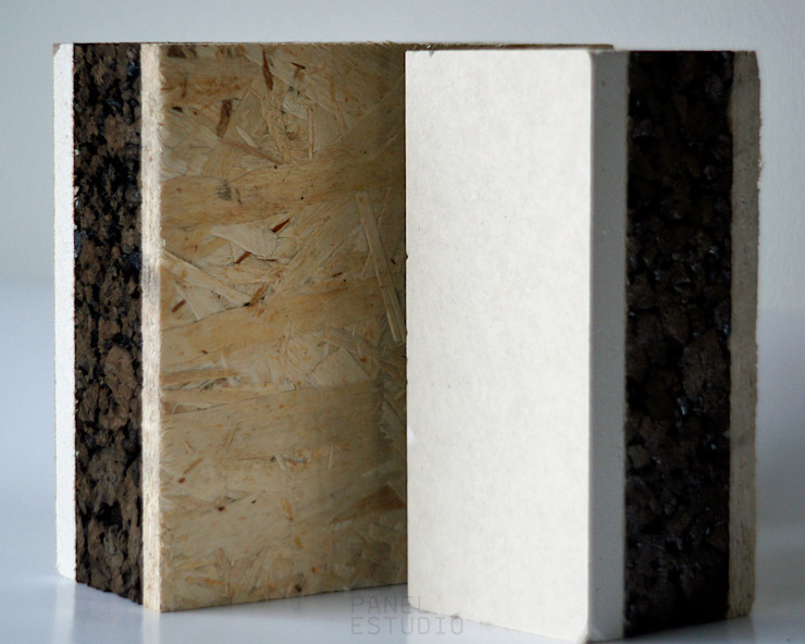 Panel con núcleo aislante térmico y acústico de corcho natural. panelestudio