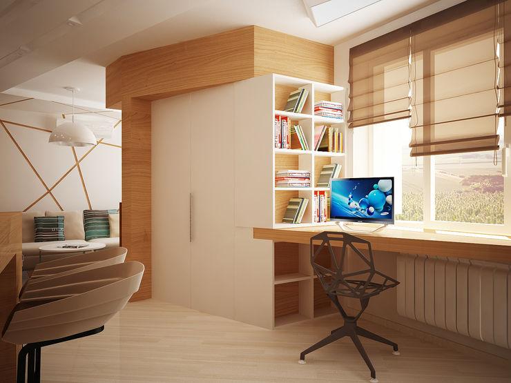 Vera Rybchenko Modern Study Room and Home Office