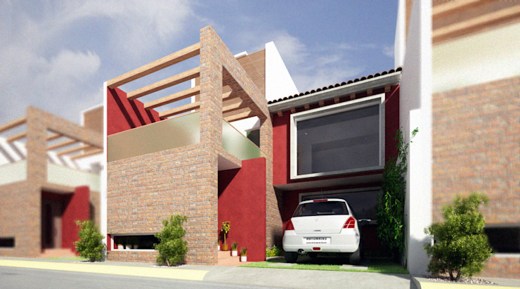 Fachada Principal homify Casas modernas Rojo