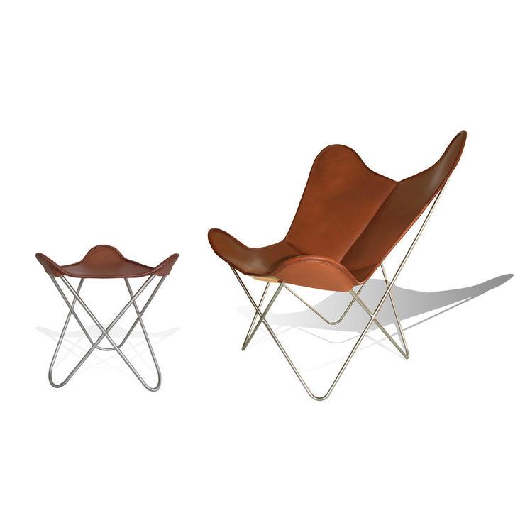 WEINBAUM Hardoy Butterfly Chair ORIGINAL Leder Tabak homify Living roomSofas & armchairs جلد Brown