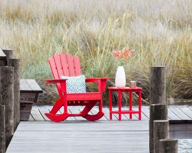 CASA BRUNO South Beach II Adirondack mecedora, HDPE poly-madera, rojo Casa Bruno American Home Decor JardínMobiliario