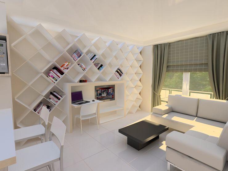 HKC House Living Room PRATIKIZ MIMARLIK/ ARCHITECTURE 거실선반 MDF 화이트