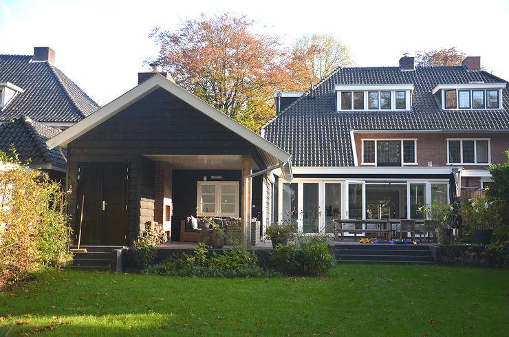 Aanbouw met veranda Boks architectuur Moderne huizen