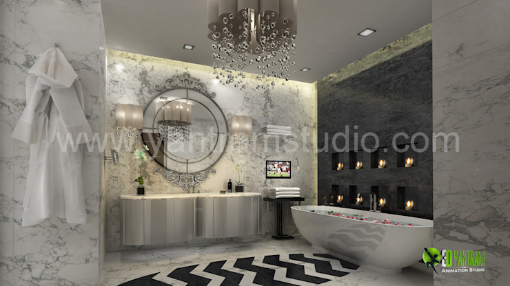 3D Interior Washroom Design Rendering Yantram Architectural Design Studio BathroomMirrors