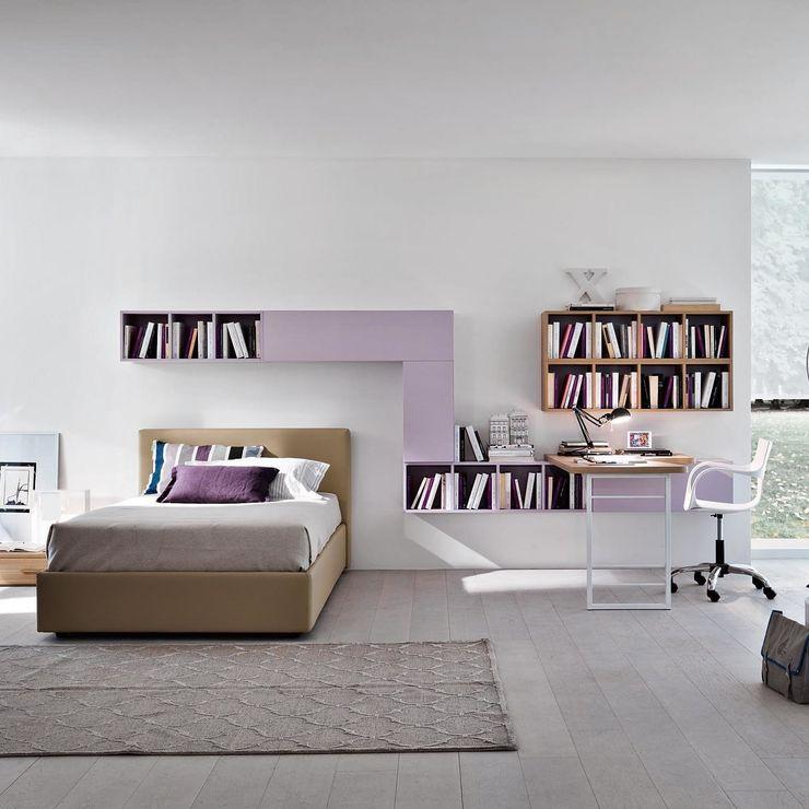 'Lilac' Girl's study/bedroom furniture set by Siluetto homify 嬰兒/兒童房床具與床鋪