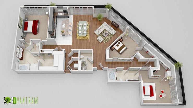 3D Floor Plan CGI Design Yantram Architectural Design Studio