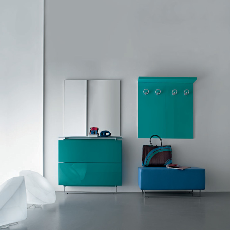 'Blue' Contemporary hallway shoe storage set with coat rack by Birex homify Koridor, Hol & MerdivenlerDepo