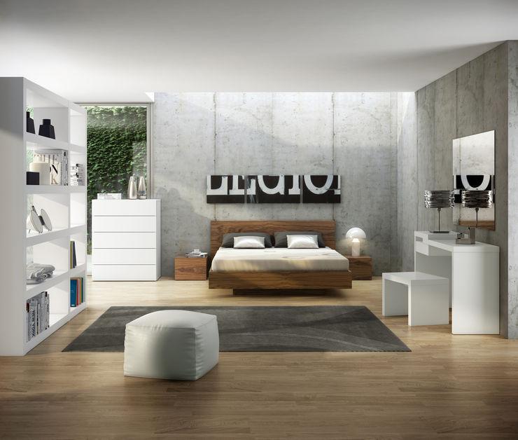 Float bed with wood headboard Temahome QuartoCamas e cabeceiras Madeira Acabamento em madeira
