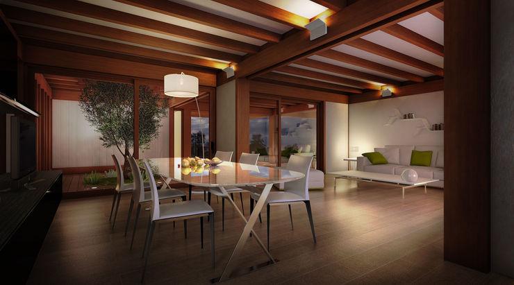 Render 3d di una vista interna del salone 3dforme Soggiorno moderno