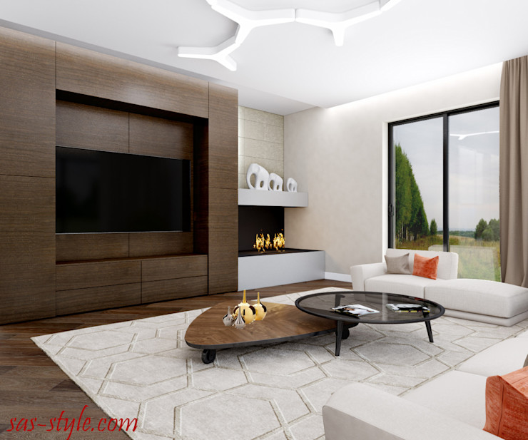Загородный дом 160 м.кв Студия Аксаны Ситниковой Гостиная в стиле минимализм