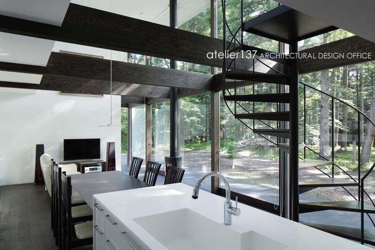 キッチン atelier137 ARCHITECTURAL DESIGN OFFICE モダンな キッチン MDF 白色