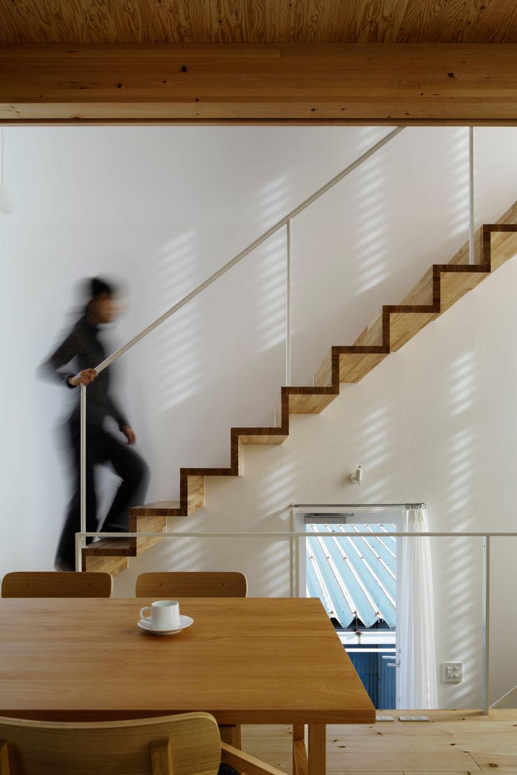 White hut and Tilia japonica 高橋真紀建築設計事務所 Pasillos, vestíbulos y escaleras de estilo ecléctico