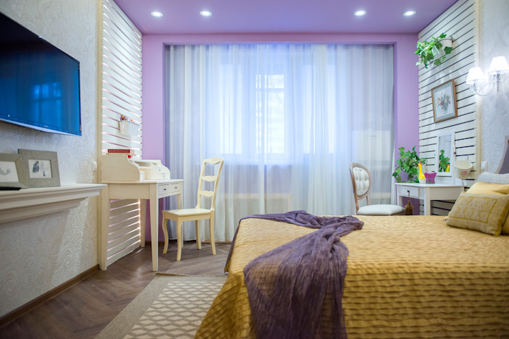 Лавандовые мечты Дизайн-студия Екатерины Поповой Спальня в эклектичном стиле Фиолетовый / Лиловый