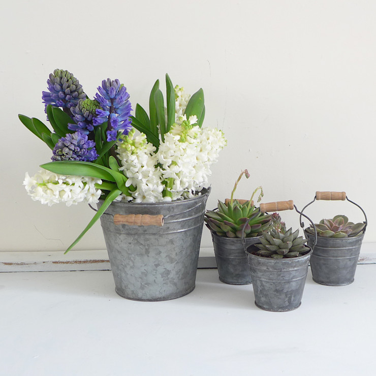 Zinc Metal Bucket Lilac Coast JardinesFloreros y macetas