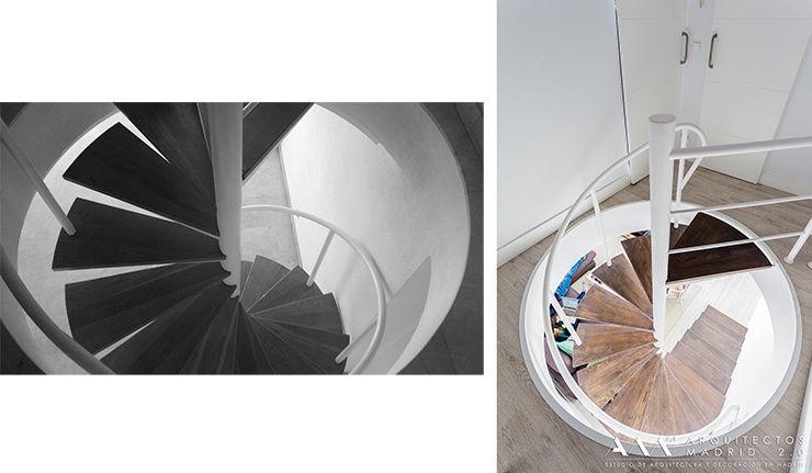 Antes y después en reforma de escalera de caracol Arquitectos Madrid 2.0