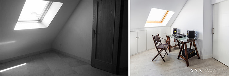 Antes y después en reforma de buhardilla en Madrid Arquitectos Madrid 2.0