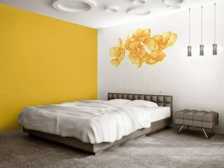 Amapolas amarillas Murales Divinos Dormitorios de estilo moderno