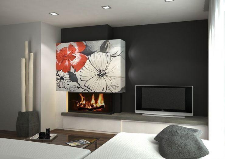 Flores en blanco, negro y rojo Murales Divinos Salas de estilo moderno