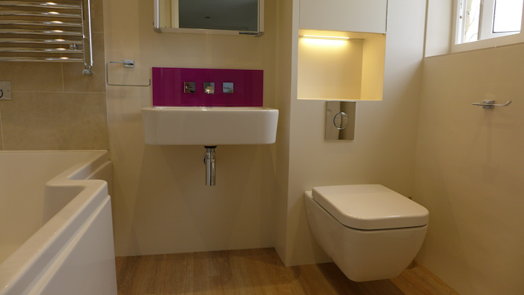 Wall mounted basin with pink purple glass splashback Style Within Modern bathroom