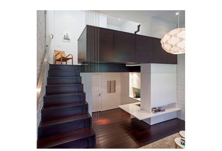 Manhattan Micro-Loft Specht Architects Modern corridor, hallway & stairs