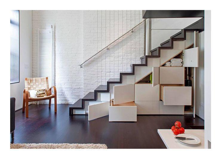 Manhattan Micro-Loft Specht Architects Modern Corridor, Hallway and Staircase