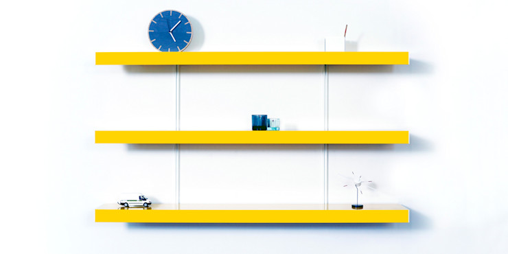 Colour shelving with white wall fixings homify Living roomTV stands & cabinets Metal Yellow