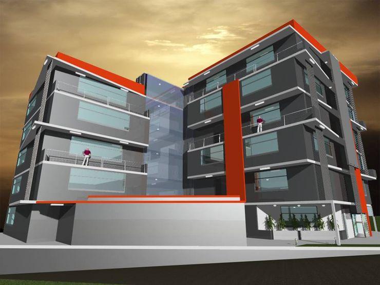 Propuesta de Diseño y modelado 3D diurno y nocturno edificio residencial. pb Arquitecto Casas modernas