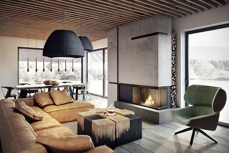 razoo-architekci Ruang Keluarga Modern
