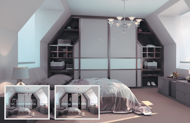 Sliding Wardrobe in the Loft Bravo London Ltd BedroomWardrobes & closets