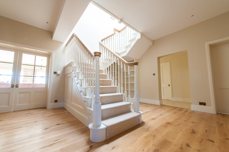 Edwardian style Cut String Stairs Buscott Woodworking Classic style corridor, hallway and stairs