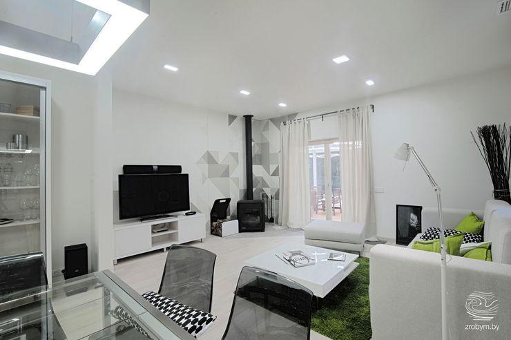 ZROBYM architects Minimalistische Wohnzimmer