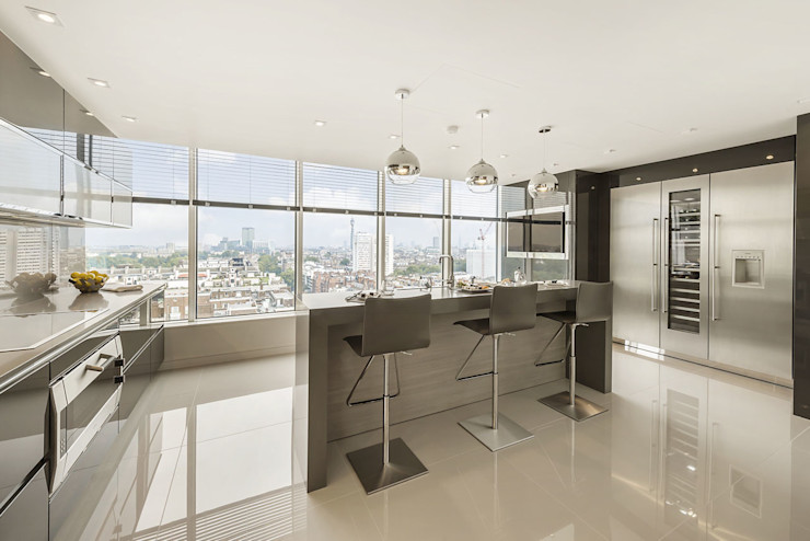 Designer polished wood kitchen with stunning elevated views of London Porcel-Thin Modern Kitchen
