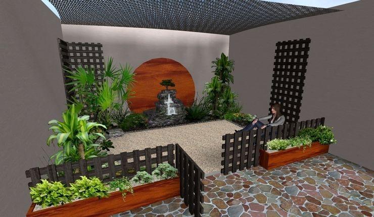 el mismo jardín - versión con cerca completa Zen Ambient Jardines rústicos