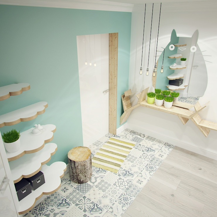 Прихожая Тоторо Мастерские проекта Про.Движение> Коридор, прихожая и лестница в азиатском стиле