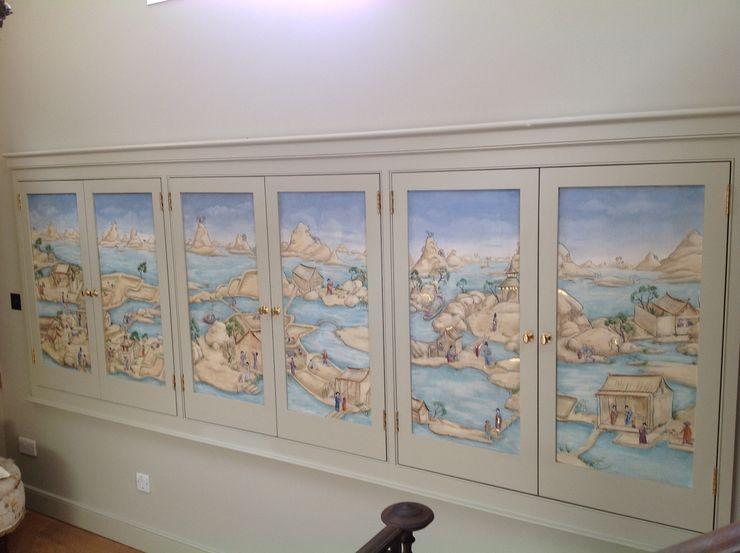 Hand Painted Panels integrated cupboard doors Eades Bespoke Asian style corridor, hallway & stairs