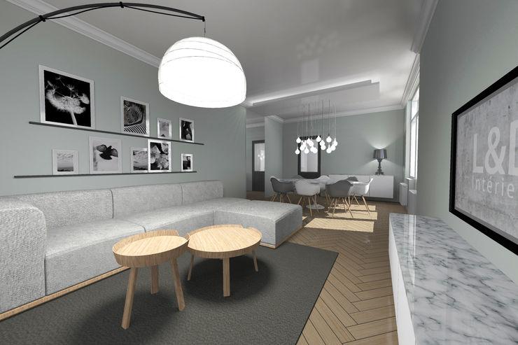 Aménagement d'un rez-de-chaussée d'une maison individuelle L&D Intérieur Salon moderne