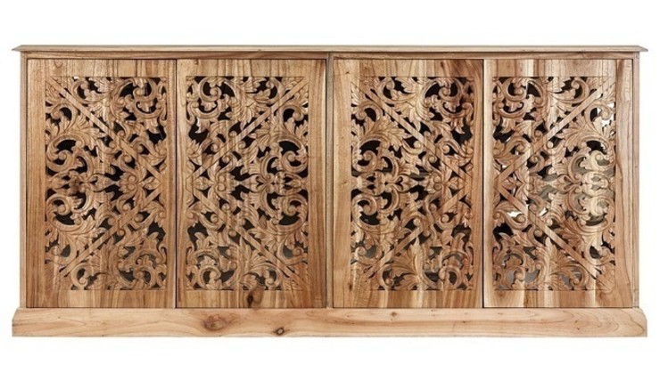 Sideboard, carved doors, made of Mindi wood homify Dining roomDressers & sideboards