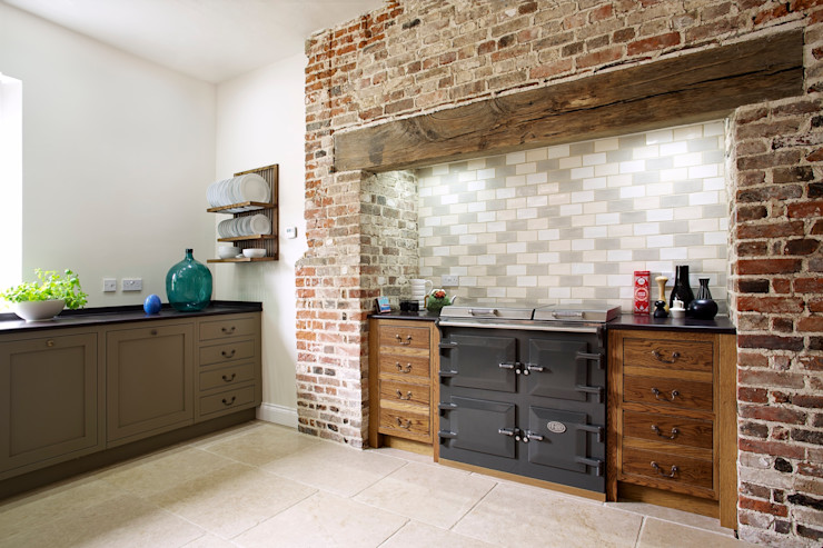 The Great Lodge   Large Grey Painted Kitchen with Exposed Brickwork Humphrey Munson Country style kitchen