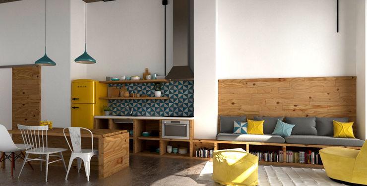 Hiruki studio インダストリアルデザインの キッチン