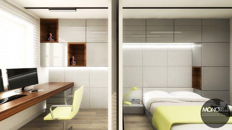 Urocze mieszkanie zaaranżowane w nowoczesnym stylu MONOstudio Nowoczesna sypialnia