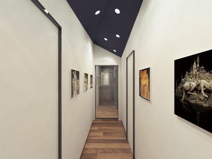 "Квартира в ЖК ""Дирижабль"" AFTER SPACE Коридор, прихожая и лестница в стиле минимализм"